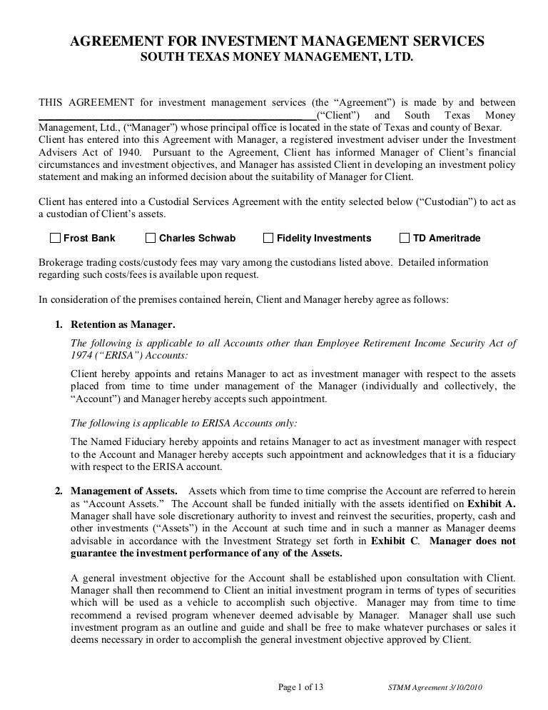 AGREEMENT FOR INVESTMENT MANAGEMENT SERVICES