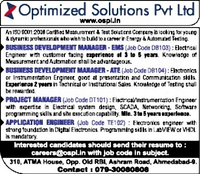 Jobs in Optimized Solutions Pvt Ltd., Vacancies in Optimized ...