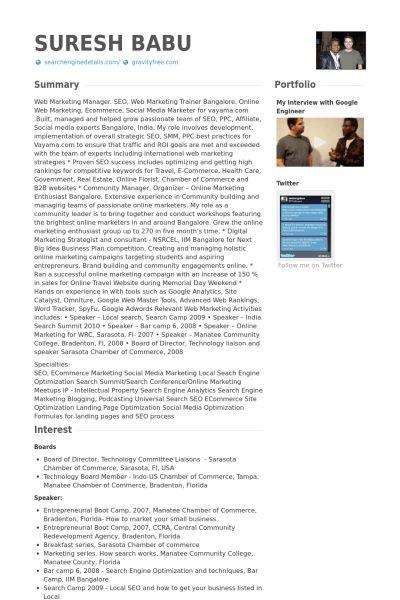 Web Marketing Manager Resume samples - VisualCV resume samples ...