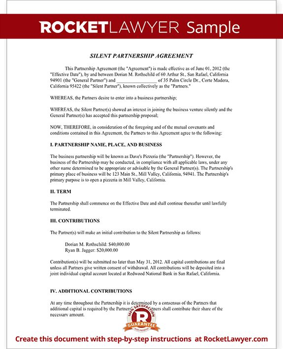 Silent Partnership Agreement Template (with Sample)