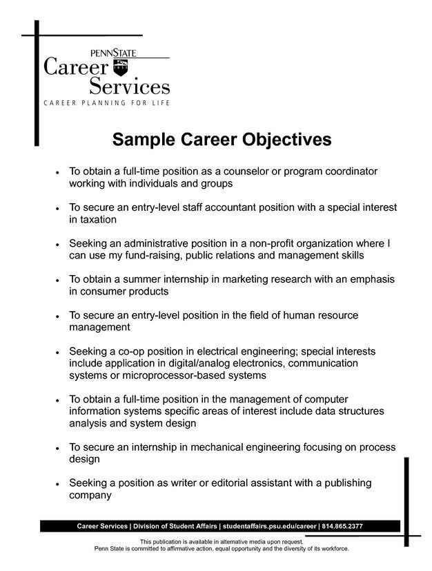 Good Resume Objective Statements General. resume job objective ...