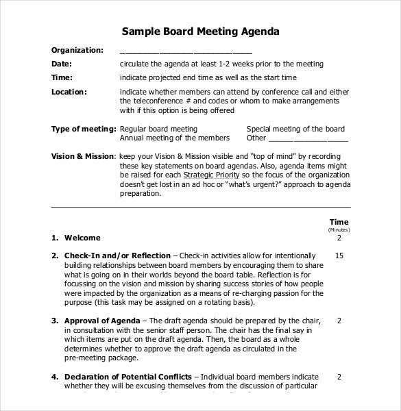Sample Agenda Format Free Meeting Agenda Template Sample Meeting