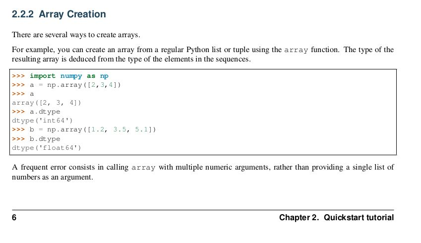 Python, Numpy, User Guide 1.13.0. Is there written a wrong output ...