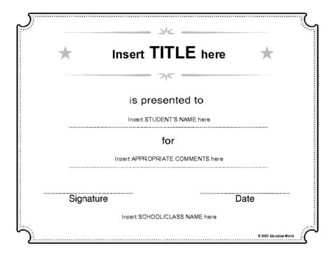 Education World: Generic Certificate Template