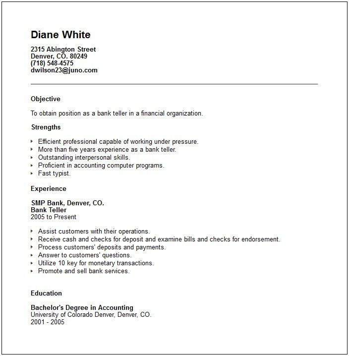 Sample Bank Teller Resume With No Experience - http://www ...