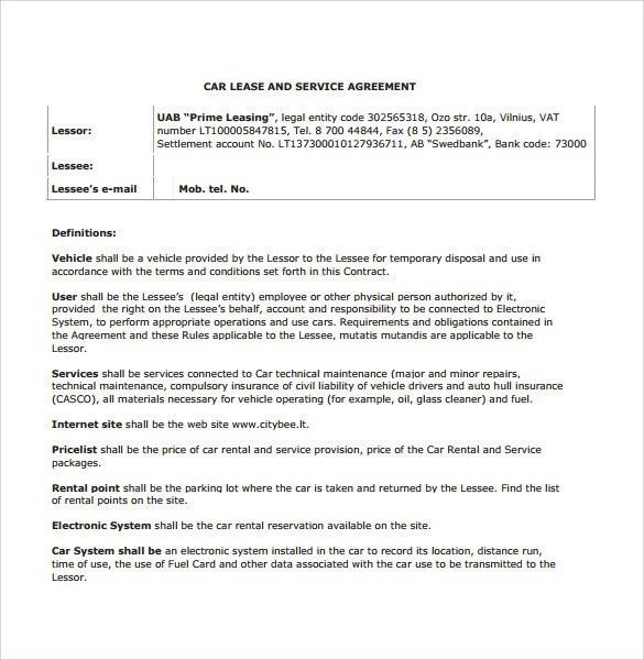 Sample Vehicle Lease Agreement Template   7+ Free Documents In PDF
