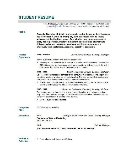 Recent Graduate Resume Template - Best Resume Collection