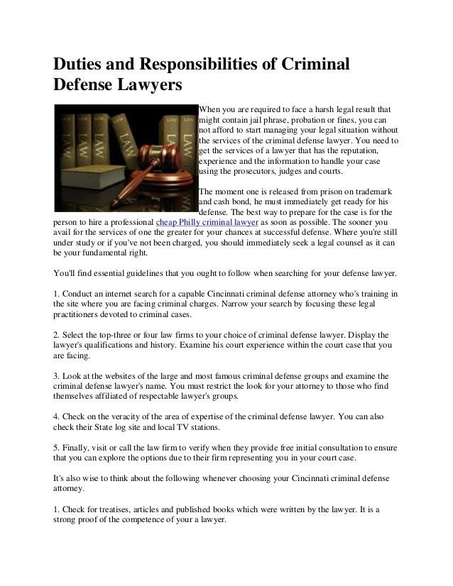 Duties and responsibilities of criminal defense lawyers