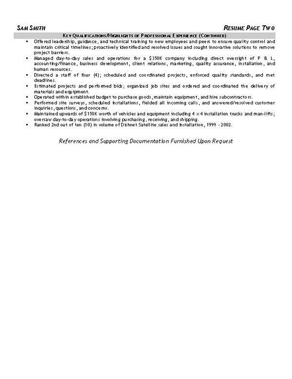 Equipment Operator Resume Example