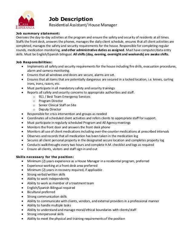 job description for property manager