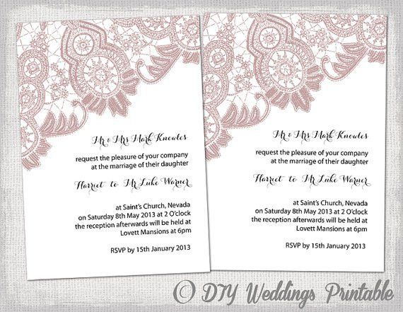 Wedding invitation template Antique Lace by diyweddingsprintable ...