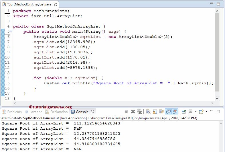 Java sqrt Function