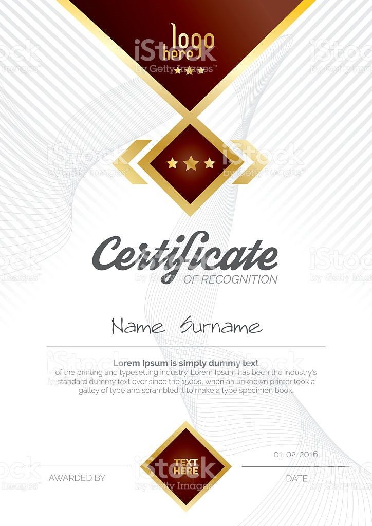 A4 Vertical Certificate Layout Design stock vector art 618619678 ...