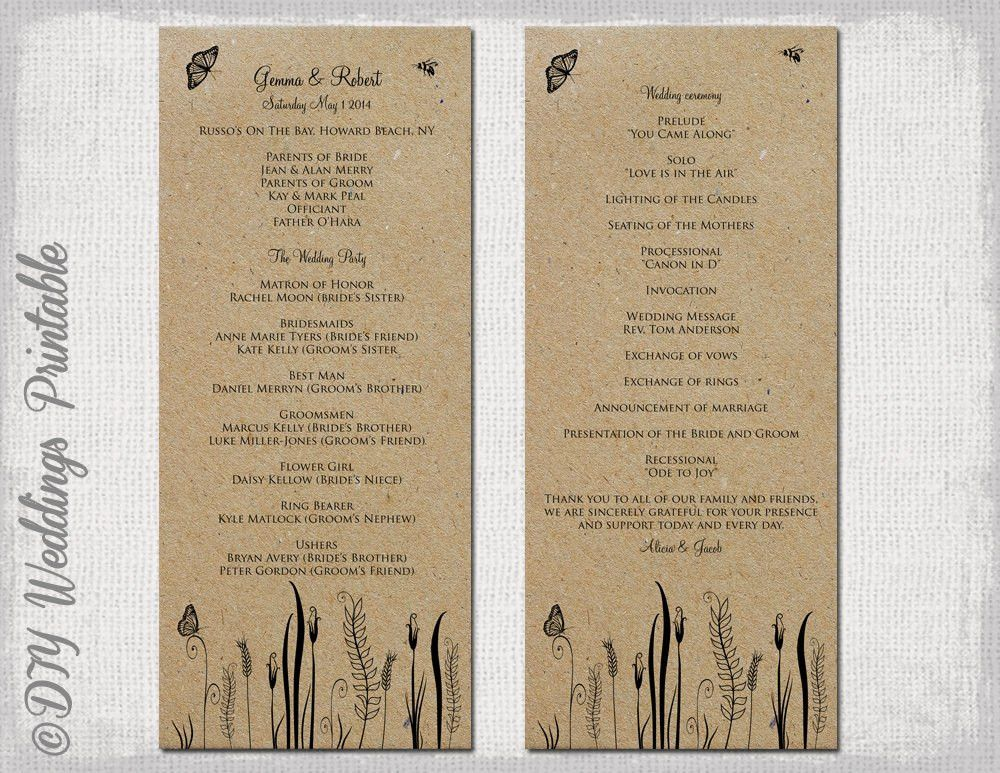 Rustic Wedding program template Butterfly Meadow