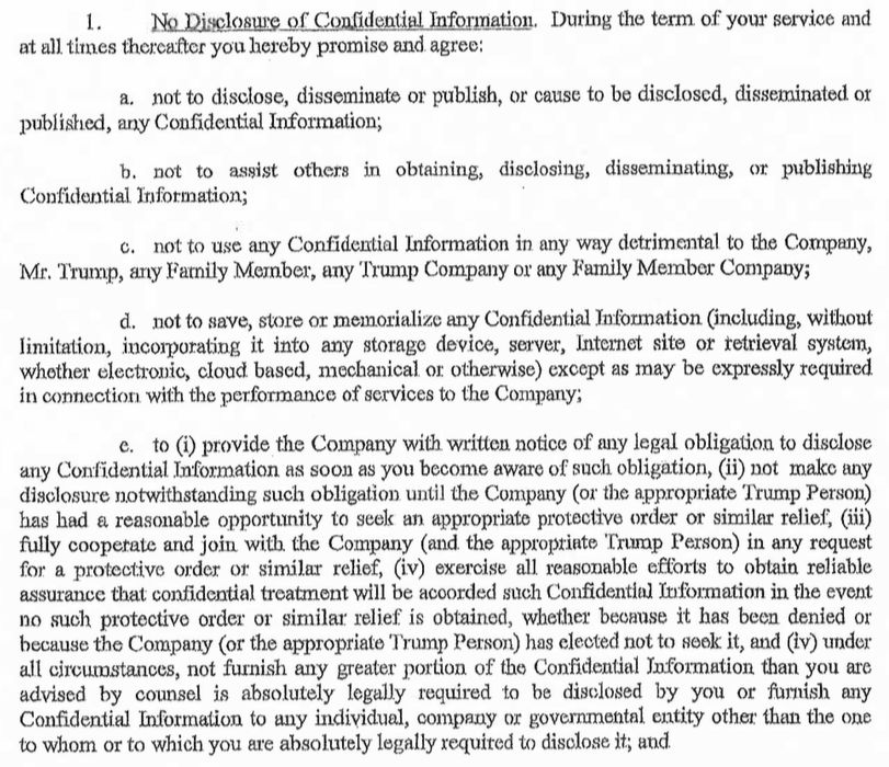 Here Is The Confidentiality Agreement Signed By A Former Trump ...