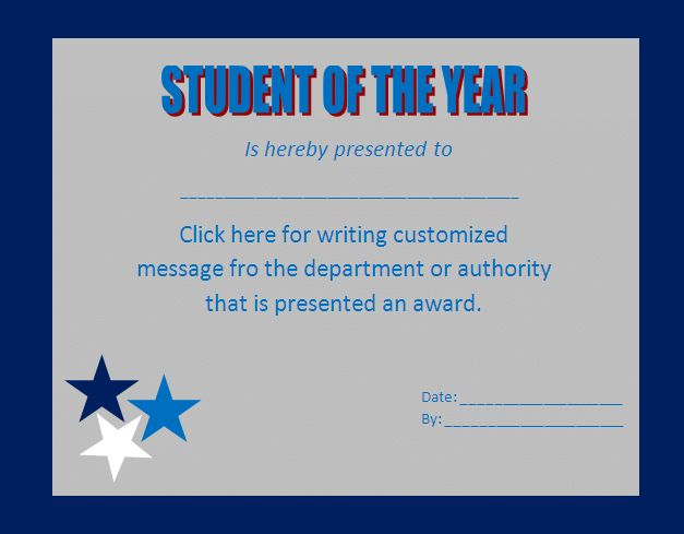 Editable Award Certificate Template for Student of The Year with ...