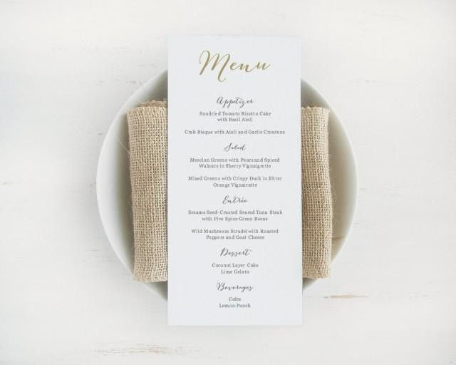 Printable Wedding Menu Template, Editable Text And Color, Instant ...