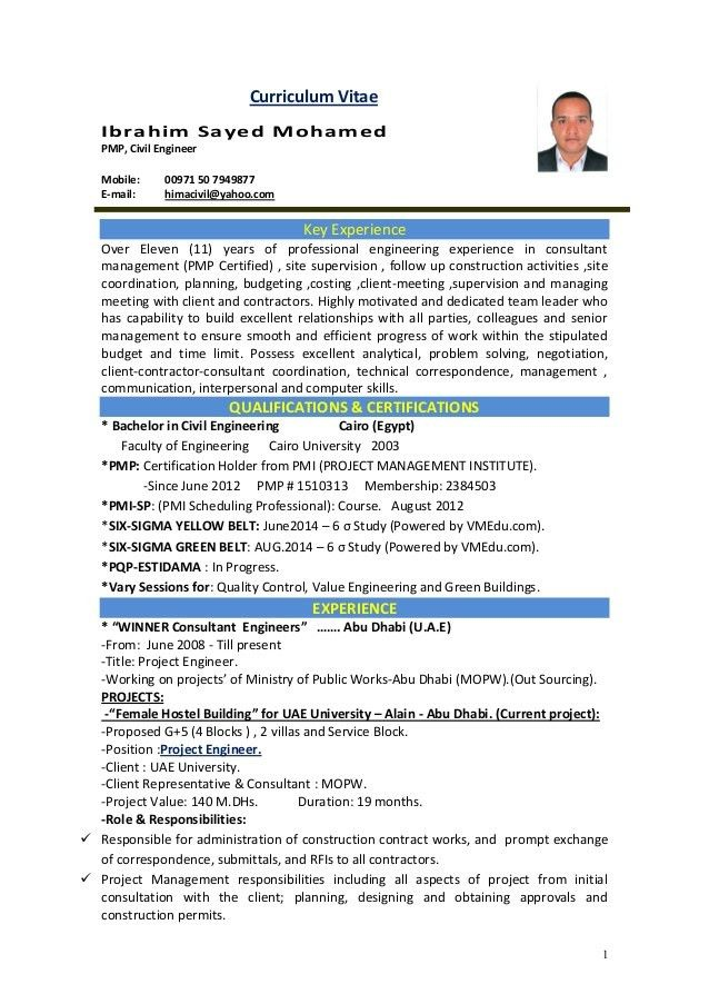 CIVIL PROJECT ENGINEER C.V. RESUME