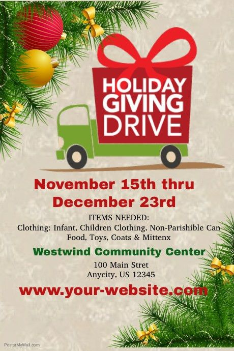 Holiday Giving Drive template | PosterMyWall