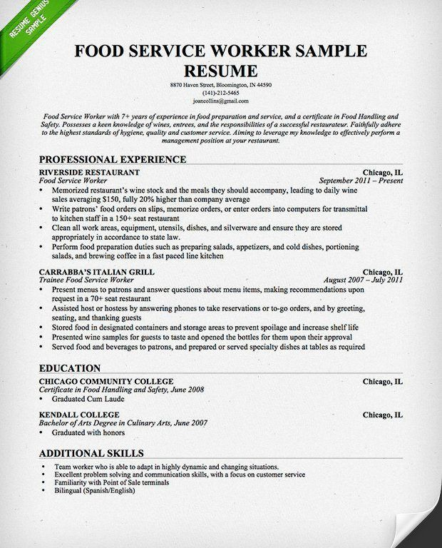 Sample Resume For Waitress - formats.csat.co