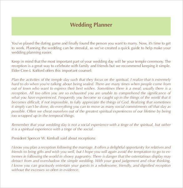 13+ Wedding Planner Templates – Free Sample, Example, Format ...