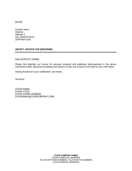 Letter to Customer Invoice Attached - Template & Sample Form ...