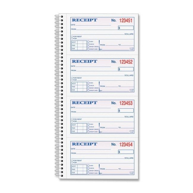 TOPS 4161 Carbonless 2-part Money Receipt Book 200 Sheet(s) - Wire ...