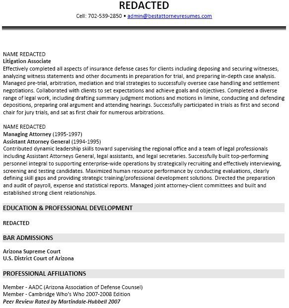 Insurance Defense Attorney Resume Sample | RecentResumes.com