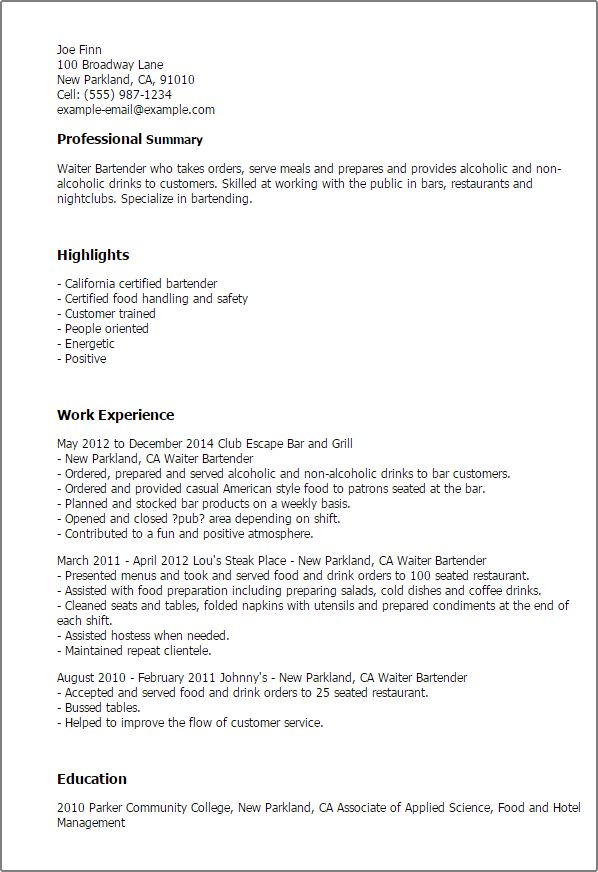 resume templates waiter bartender. 10 waitress career objective ...