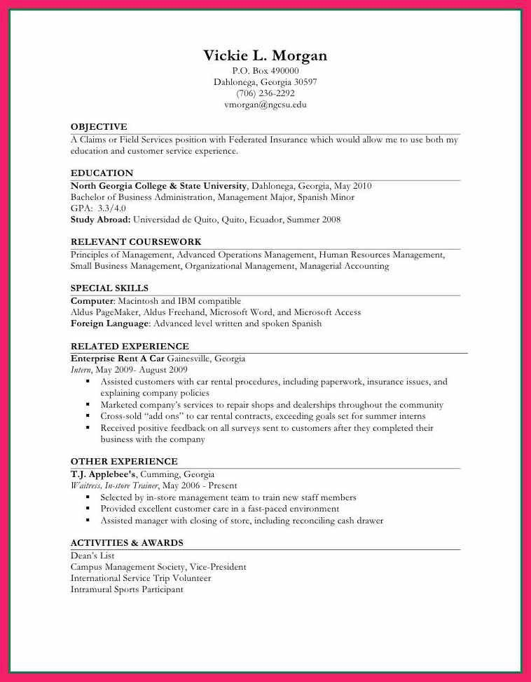 Internship Resume Experience Examples. resume for first job no ...