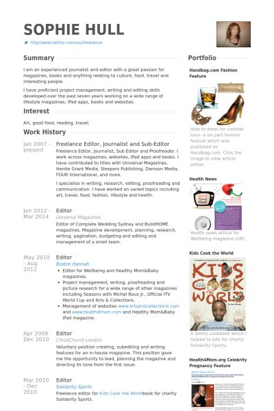Journalist Resume samples - VisualCV resume samples database