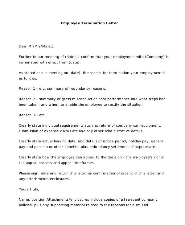 Termination Letter - 10+ Free Word, Excel, PDF Documents Download ...