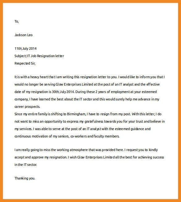 professional resignation letter sample with notice period   art ...
