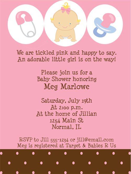 Girl Baby Shower Invitation Wording - marialonghi.Com