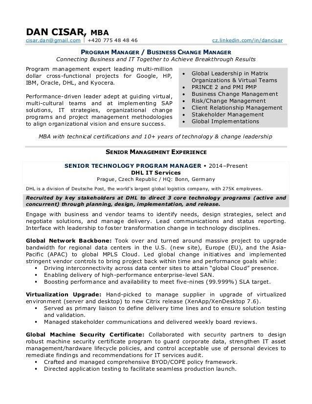 Change Management Resume | Best Resume For You