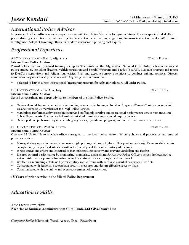 Download Police Resume Examples | haadyaooverbayresort.com