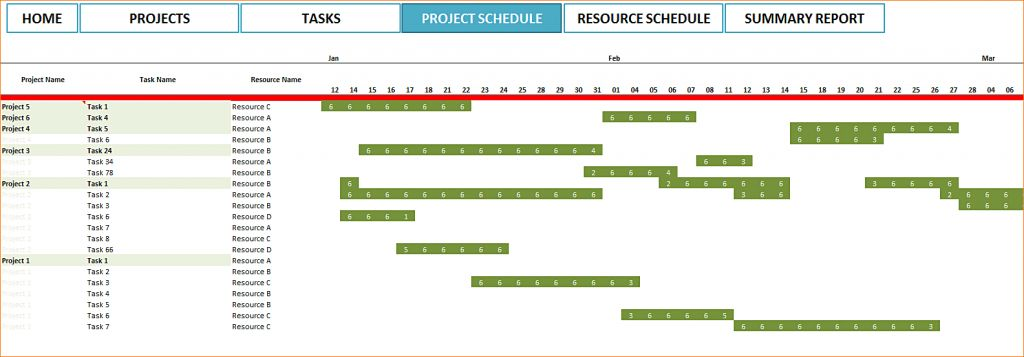7 Project Schedule Template Excel Ganttchart Resource And Summary ...
