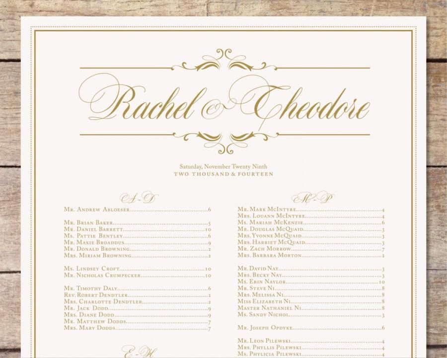Ivory & Gold Wedding Seating Chart, Classic Glam, Customizable ...