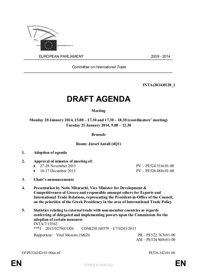 Draft Agenda for the next INTA meeting: 20 & 21 January 2014