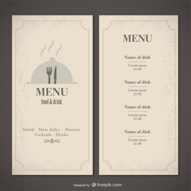 Classic food menu template Vector | Free Download