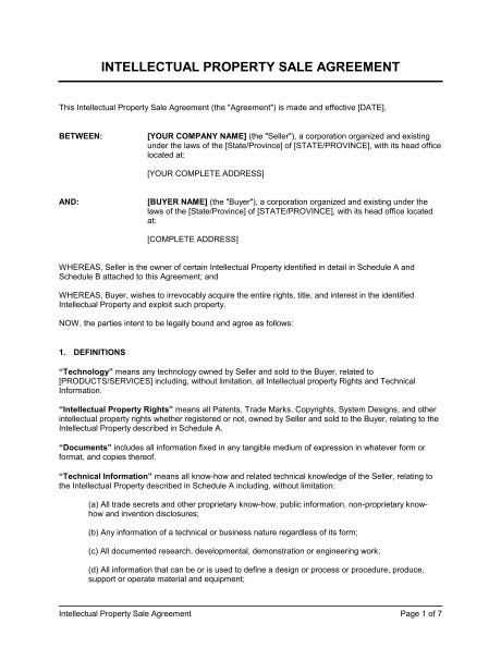 IP Sale Agreement - Template & Sample Form | Biztree.com