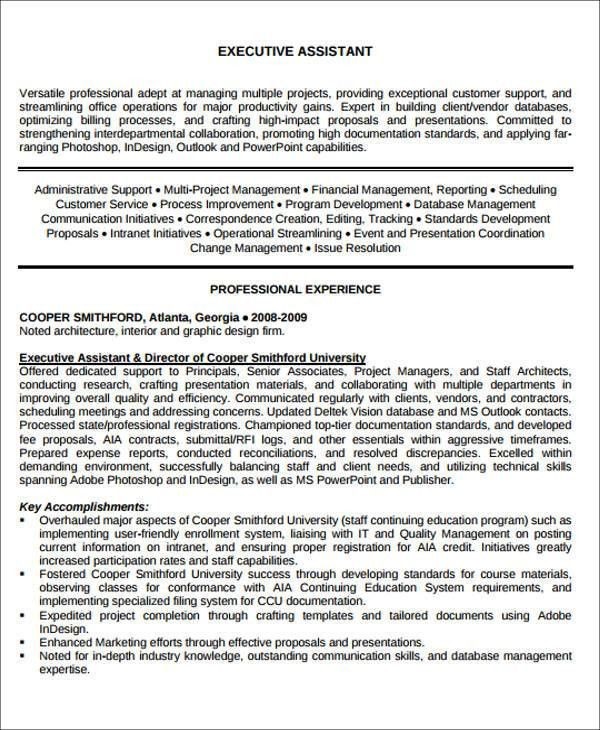 Executive Administrative Assistant Resume. Administrative ...