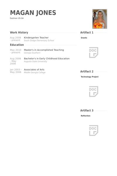 Kindergarten Teacher Resume samples - VisualCV resume samples database