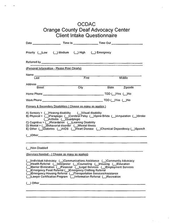 OCDAC New Intake Form - Skills for Change on Behance