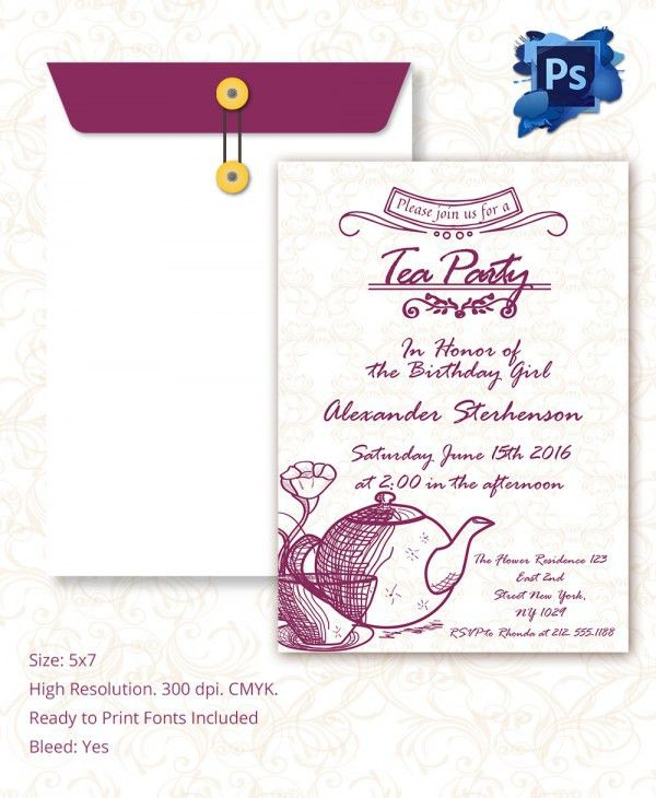 Tea Party Invitation Template. Freshness Tea Party Invitation ...