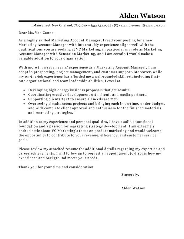 Best Account Manager Cover Letter Examples | LiveCareer