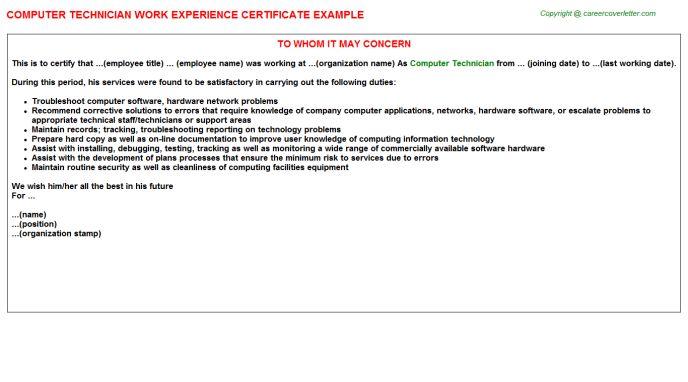 Computer Technician Work Experience Certificate