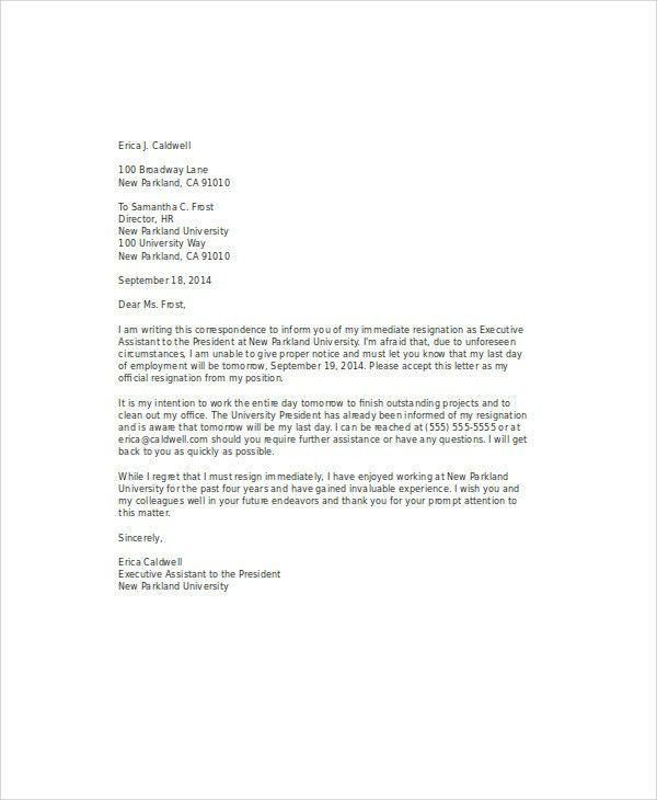 Resignation letters - cvlook05.billybullock.us