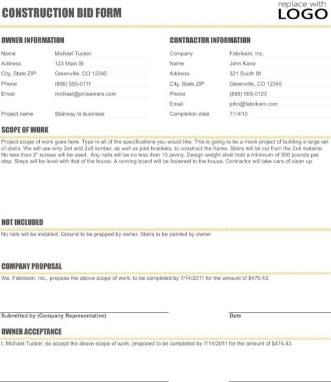 Construction Proposal Template | Templates&Forms | Pinterest ...