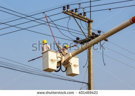 Electrical Worker On Concrete Pole Performs Stock Photo 88077178 ...